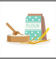 flour in a craft paper bag and wooden bowl with vector image vector image