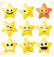 funny cartoon stars emotions vector image