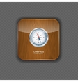 Glossy Compass wood application icons vector image