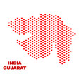 gujarat state map - mosaic of lovely hearts vector image vector image