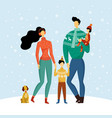 happy family mother father son daughter in winter vector image vector image
