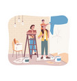 home repair family painting wall parents and kid vector image vector image