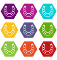 horseshoe icon set color hexahedron vector image vector image
