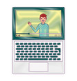 influencer waving hand video content on screen vector image vector image