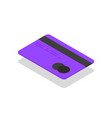 isometric credit card against vector image vector image