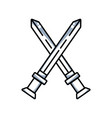 line videogame swords and medieval weapon vector image vector image