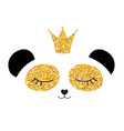 little cute panda princess with crown and flowers vector image vector image
