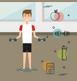 man weight lifting with sports icons vector image vector image