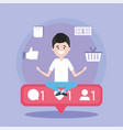 man with social media chat message vector image