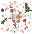 merry christmas and happy new year 2021 seamless vector image vector image