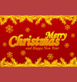 merry christmas greeting card golden logo snow vector image vector image