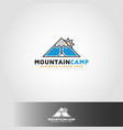 mountain camp - adventure logo vector image