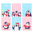 penguin cards merry christmas greetings card vector image vector image