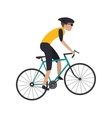 person riding bike with helmet icon vector image