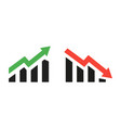 profit growing green and red arrow icons isolated