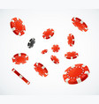 realistic 3d detailed red poker chips flying vector image