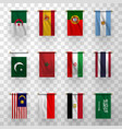 realistic flags icons national countries symbolic vector image vector image