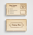 Retro business card with grunge template vector image