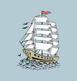 sailboat sketch yacht ship hand drawn vector image