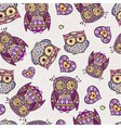 Seamless pattern with decorative owl vector image vector image