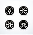 set of car wheel icons vector image vector image