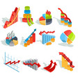 set of isometric infographic graphics vector image