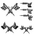 set tattoo machine design elements for tattoo vector image vector image