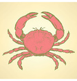Sketch cute crab in vintage style vector image vector image