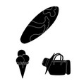summer rest black icons in set collection for vector image vector image