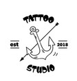 tattoo studio arrow anchor background image vector image