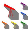 telescope simple sign set of red orange yellow vector image