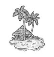 uninhabited island with hut and palm trees sketch vector image