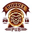 wooden beer barrel emblem vector image vector image