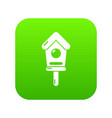 wooden birdhouse icon green vector image
