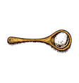 wooden spoon with sea salt powdered powder vector image vector image