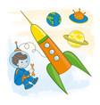 young astronaut children cartoon vector image vector image
