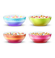 bowls of breakfast with different milk cereal vector image