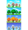 four seasons trees and landscape banners vector image