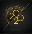 2020 happy new year with gold number vector image vector image