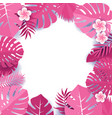 background pink palm leaves frame tropical vector image vector image