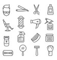 barber shop line icons on white background vector image