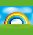 beautiful rainbow and clouds vector image vector image