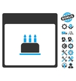 Birthday Cake Calendar Page Icon With Bonus vector image vector image