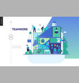 business series - company teamwork and vector image