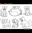 cartoon cats and kittens set coloring book page vector image