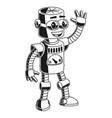 cartoon cute friendly robot waving hello vector image