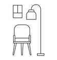 chair and room lamp icon outline style vector image