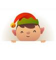 christmas cute elf standing behind blank vector image vector image