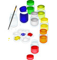 Color Paint Jars and Palette with A Brush vector image vector image