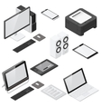 Computer and office devices detailed isometric vector image vector image